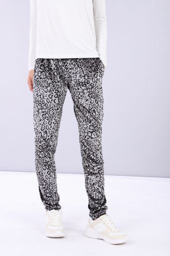 Tapered trousers made from chenille with animal print
