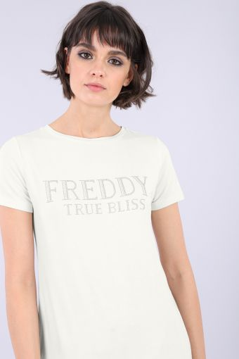Comfort fit women's t-shirt made from viscose jersey with rhinestones