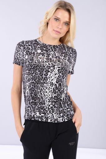 Komfort-T-Shirt aus Viskose mit Animalier-Optik, Aufdruck und Strasssteinen