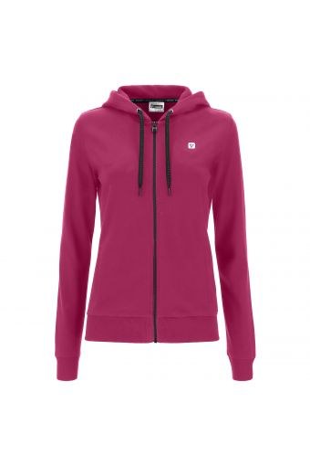 Regular fit sweatshirt with zip and hood with drawstring and beads