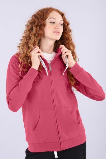 Komfort-Sweatshirt mit Kapuze und schwarzen Flock-Aufdrucken