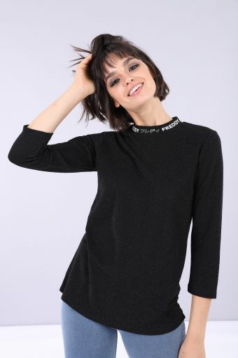 Langes Slim-T-Shirt aus Lurex mit langen Ärmeln