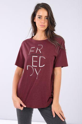 Camiseta comfort de tejido de punto de viscosa con estampado plateado
