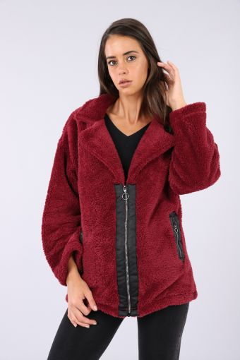 -sized coat in fuzzy material with a jacket cut