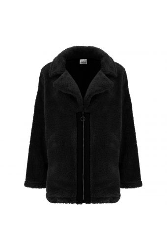 Cappottino oversize in peluche con taglio giacca