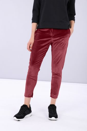 Comfort fit trousers in chenille with tapered leg