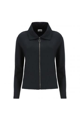 Regular fit sweatshirt in lurex, shirt neck and jacquard inserts