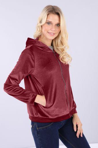 Comfort fit sweatshirt in chenille with hood and front zip