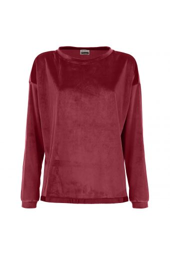 Over-sized sweatshirt with long sleeves in shiny chenille