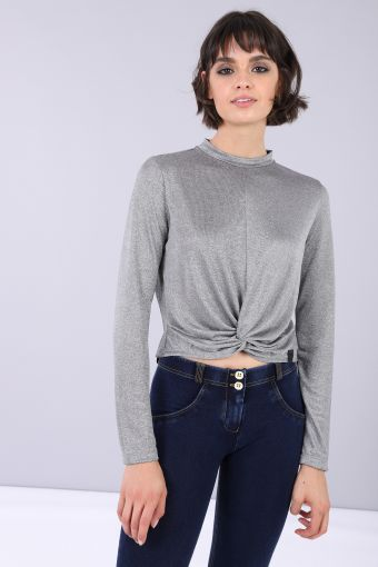 Crop dance Tee with long sleeves in lurex with knot at base