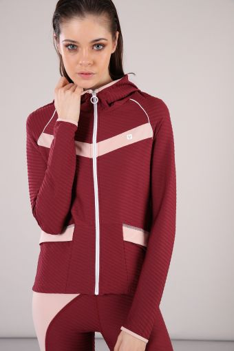 Yoga sweatshirt with a stretch nylon hood, 100% Made in Italy