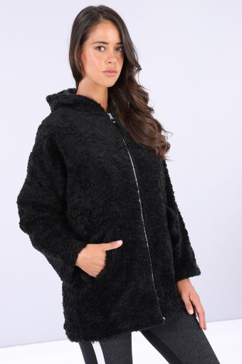 Comfort fit faux-fur fuzzy heavy jacket with hood and zip