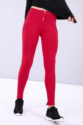 Biker-style ankle length adherent leggings