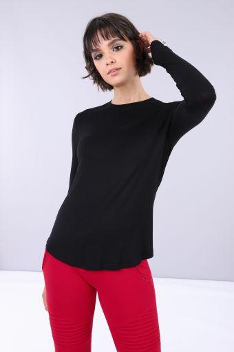T-shirt slim a manica lunga in viscosa con stampa e strass