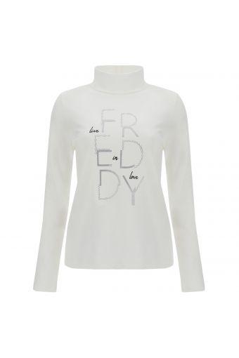 Sweat-shirt à col montant et manches longues, en coton mélangé, orné d'un imprimé