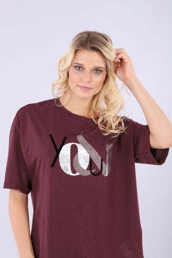 T-shirt à manches courtes, coupe arrondie à la taille et imprimé