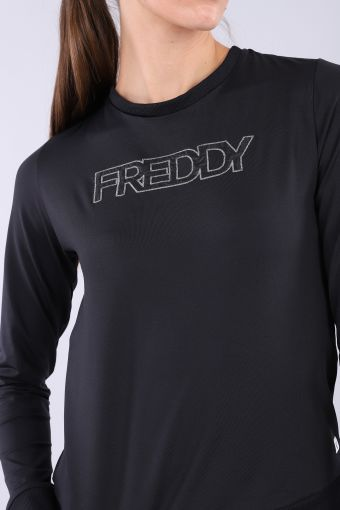 Comfort fit sweatshirt with an embroidered logo and satin inserts