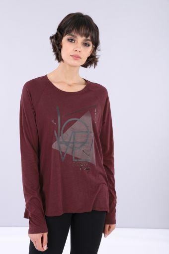 Camiseta regular de tejido de punto con mangas raglán largas y estampado