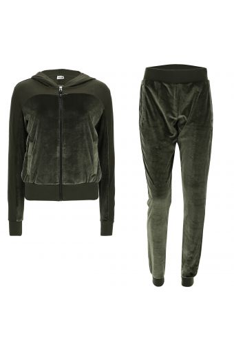 Chenille tracksuit with contrasting opaque inserts
