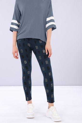 Bedruckte Komfort-Hose mit weichem Bund an der Taille