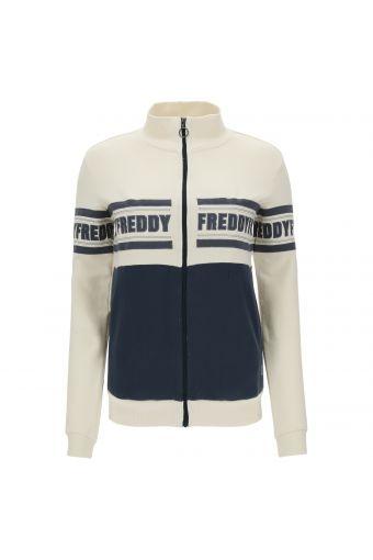 Regular fit bi-color women's sweatshirt with high neck