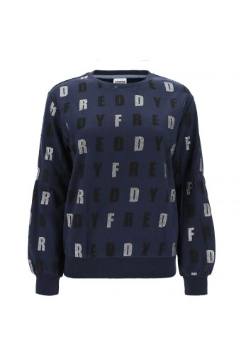 Comfort fit sweatshirt with all-over motif printed in glitter
