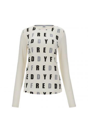 T-shirt manica lunga con lettere sul fronte