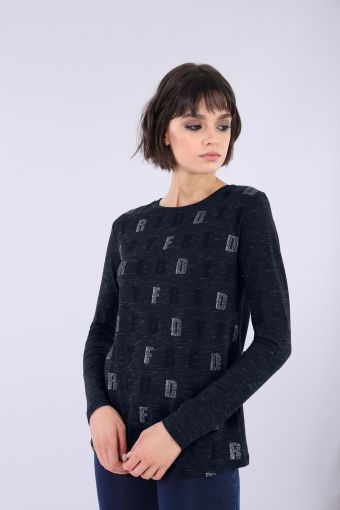Slim fit t-shirt in melange jersey with all-over glitter print