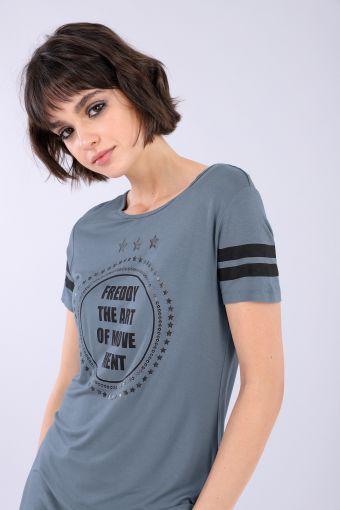 T-shirt donna in viscosa con stampa e bande a contrasto