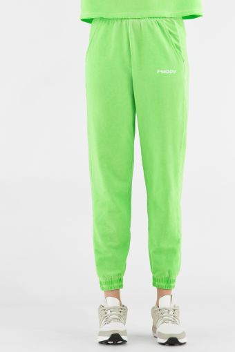 Neon athletic pants with elastic waist