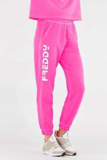 Pantalons de sport, couleur fluo, avec maxi logo blanc Freddy