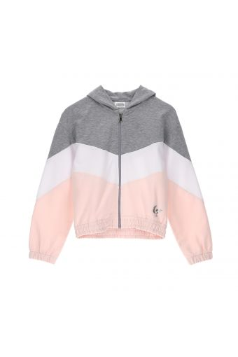 Colour block jacket with a hood - Girls (6-8 years)