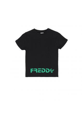 Camiseta negra con estampado FREDDY verde - Niña 6-8 años