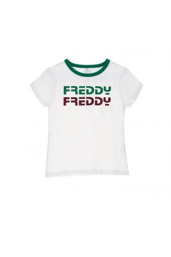 Camiseta blanca con cuello de color y estampado - Niña 6-8 años