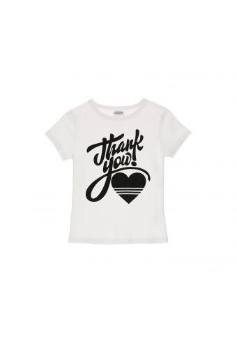 Camiseta blanca con estampado negro de glitter - Niña 6-8 años