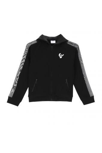 Schwarze Jacke mit Kapuze und Tüll-Einsätzen - Mädchen 6-8 Jahre