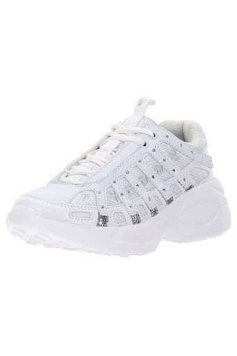 Women's heritage sneakers featuring patent leather inserts and micro studs