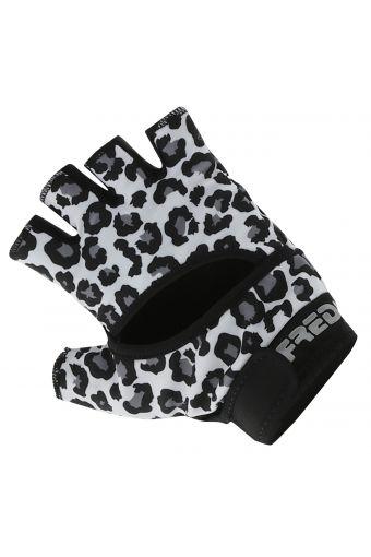 Leopard print fingerless gym gloves