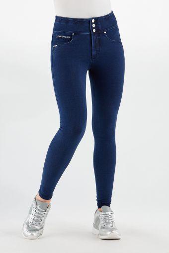 N.O.W.® Pants pantaloni a vita alta effetto denim scuro