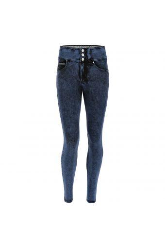 N.O.W.® Pants mit hohem Taillenbund aus buntem Denim mit Marble-Wash