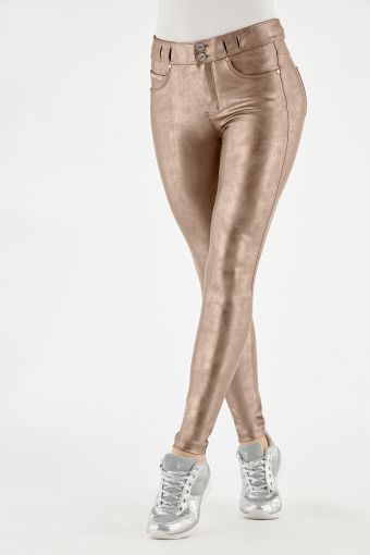 N.O.W.® Pants trousers in used-look metallic faux leather