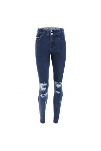N.O.W.® Pants mit mittlerem Taillenbund mit dunklem Denim-Effekt und Rissen
