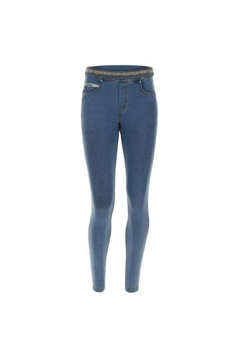 N.O.W.® Pants denim-effect Jersey trousers with a foldable waist