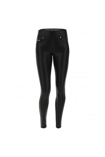 N.O.W.® Pants Yoga mit mittlerem Taillenbund aus schwarzem beschichtetem Interlock