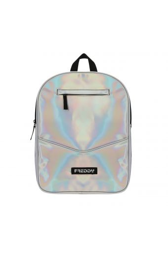 Iridescent nylon backpack with a contrasting Freddy logo