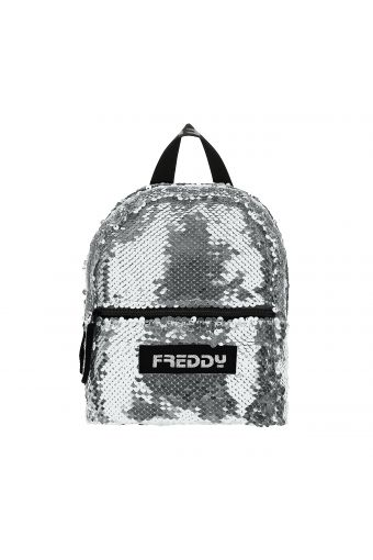Sequin mini backpack with a zip compartment