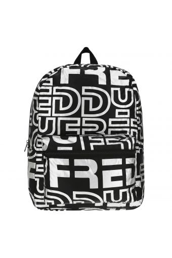 Packable nylon backpack with a reflective print