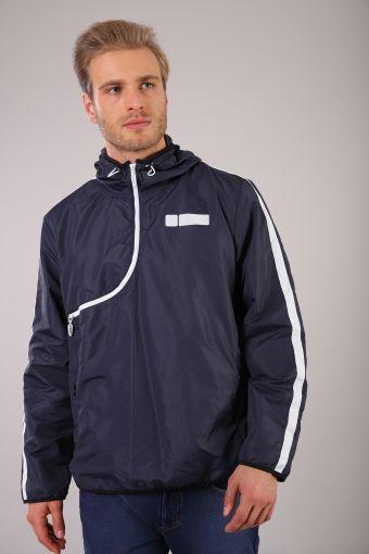 Water-resistant sweatshirt with curved zip