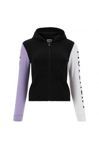Sweat-shirt élastique pour fille avec blocs de couleur et grand imprimé