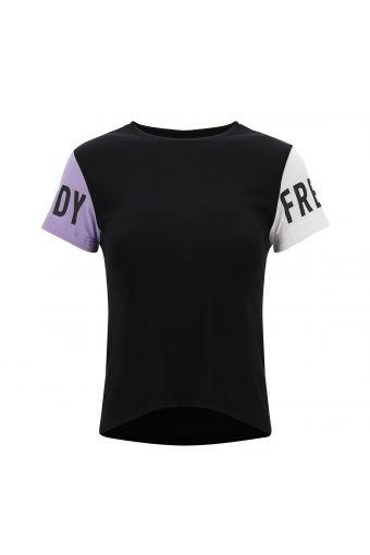 Tee-shirt pour fille avec blocs de couleur et imprimé